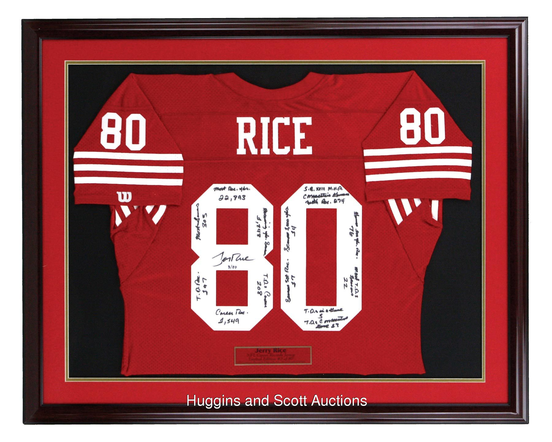 outlet store d710e c57c6 Jerry Rice Signed Stat Jersey